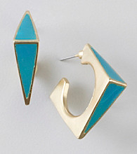 Relativity® Teal/Goldtone Square Post Earrings
