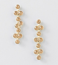 Relativity® Orange/Goldtone Two Bead Pear Shaped Drop Earrings