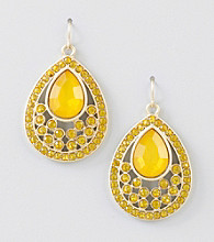 Relativity® Yellow/Goldtone Faceted Tear Drop Earrings