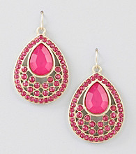 Relativity® Pink/Goldtone Faceted Tear Drop Earrings