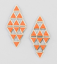 Relativity® Orange/Goldtone Triangle Chandelier Earrings