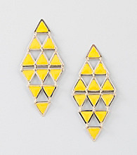 Relativity® Yellow/Goldtone Triangle Chandelier Earrings