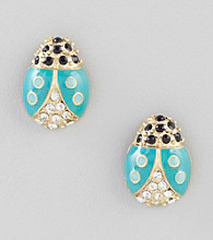 Relativity® Goldtone Lady Bug Button Earrings