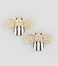 Relativity® Goldtone Bumble Bee Button Earrings