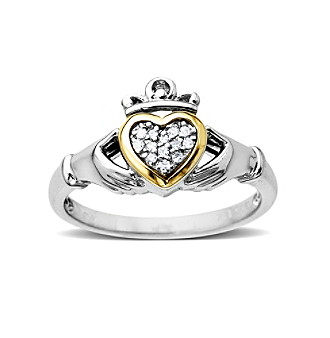 .05 Diamond Claddagh Ring in Sterling Silver and 14K Gold