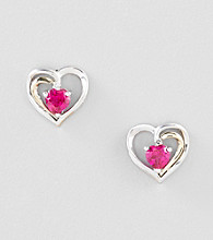 Created Ruby Heart Earrings