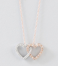 .10 ct. t.w. Diamond Double Heart 10K Yellow Gold Necklace