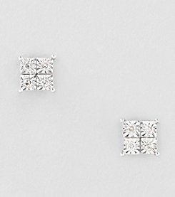 .08 ct. t.w. Diamond 10K White Gold Square Earrings