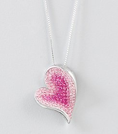 Impressions® Pink Crystal Heart Pendant in Sterling Silver