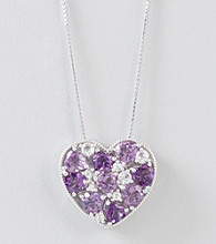 Amethyst Heart Pendant in Sterling Silver