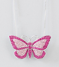 Pink Crystal Butterfly Pendant in Sterling Silver