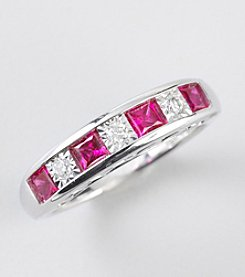 Created Ruby and White Sapphire Ring in Sterling Silver