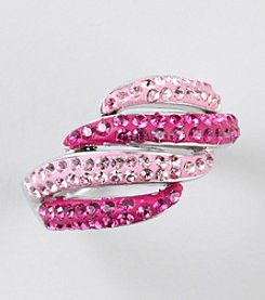 Pink Shaded Crystal Ring in Sterling Silver