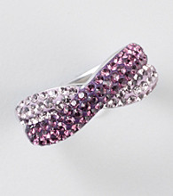 Purple Shaded Crystal Ring in Sterling Silver