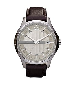 A|X Armani Exchange Men's Smart Silvertone Stainless Steel with Brown Leather Strap Watch