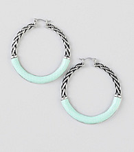 Guess Silvertone Hoop Earrings