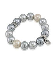 Carolee® Color Blocked Grey Pearl Bracelet