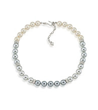 Carolee® Color Blocked Grey Pearl Necklace