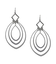 Jessica Simpson Silvertone Inset Drop Earrings