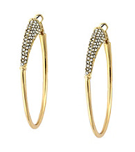 Jessica Simpson Silvertone Hoop Earrings with Stone Accents