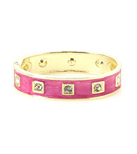 L&J Accessories Fuchsia Enamel and Crystal Hinged Bangle