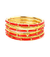 L&J Accessories Seven Multi Row Red Enamel Bangles