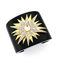 Vince Camuto™ Architectural Deco Black and Goldtone Star Cuff