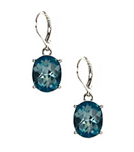 Anne Klein® Silvertone Aqua Drop Earrings