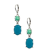 Anne Klein® Silvertone Blue Drop Earrings
