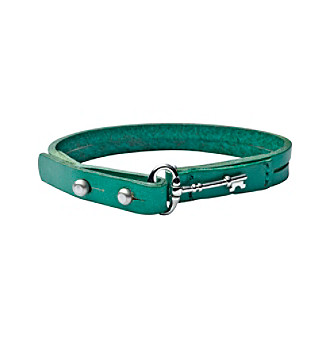Fossil® Aqua Leather Bracelet with Silvertone Fossil® Iconic Key Peg Closure