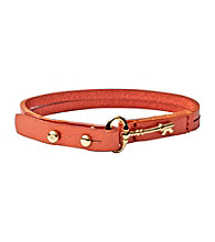 Fossil® Coral Leather Bracelet with Goldtone Fossil® Iconic Key Peg Closure