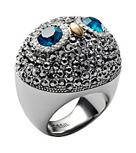 Fossil® Silvertone Owl Cocktail Ring with Blue Eyes