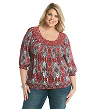 Oneworld® Plus Size Sequined Scoopneck Tunic