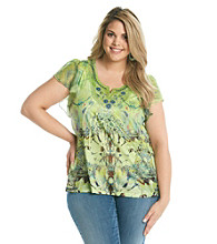 Oneworld® Plus Size Top Satin Yoke And Embroidery
