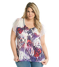 Oneworld® Plus Size Top With Satin Yoke And Embroidery