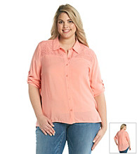 Oneworld® Plus Size Solid Roll-Tab Sleeve Top
