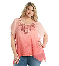 Oneworld® Plus Size Chiffon Top Overlay With Sequins