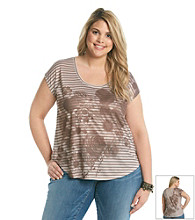 DKNY JEANS® Plus Size Floral And Stripe Shirt Tail Tee