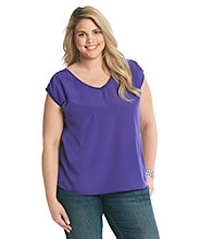 DKNY JEANS® Plus Size Mixed Media Bubble Top