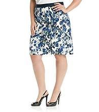 Rafaella® Plus Size Floral Shadow Printed Skirt