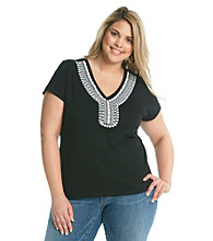 Rafaella® Plus Size Embellished V-Neck Tee