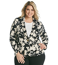 Rafaella® Plus Size Floral Printed Knit Jacket