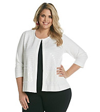Rafaella® Plus Size Embellished Sequined Cardigan
