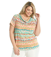 Rafaella® Plus Size Printed Drapeneck Top