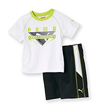 PUMA® Baby Boys' White/Lime Victory Shorts Set