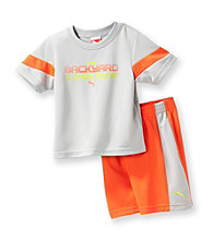 PUMA® Baby Boys' Red/Grey Superstar Shorts Set
