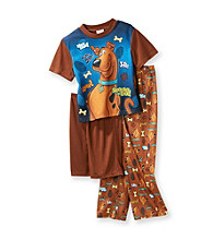 Scooby-Doo® Boys' 4-10 Blue/Brown 3-pc. Short Sleeve Pajama Set