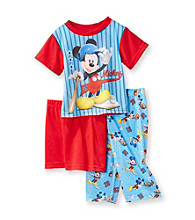 Disney® Boys' 2T-4T Blue 3-pc. Short Sleeve Mickey Mouse Baseball Pajama Set
