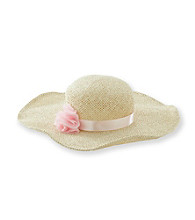 Nolan™ Girls' Natural Floppy Hat with Pink Flower