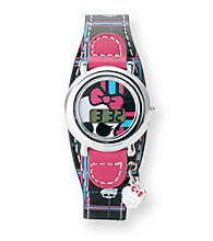 Monster High® Black Plaid Skull Watch